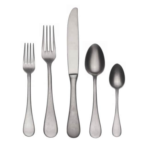 Flatware 5 Piece Place Setting, Vintage Oro Nero Perspective: front