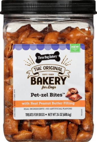 Three Dog Bakery Original Pet-zel Bites Peanut Butter Filled Dog Treats Perspective: front