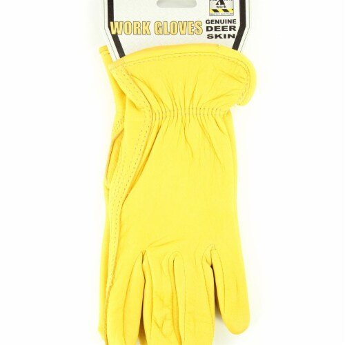 M&F Western H2112408-L HD Xtreme Deerskin Work Gloves, Yellow - Large Perspective: front