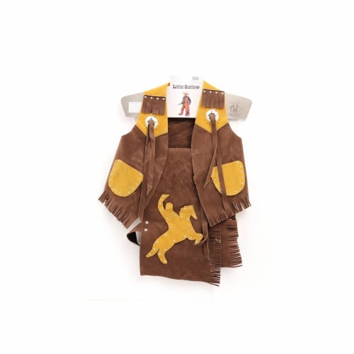 M&F Western  Kids Bronc Rider Faux Suede Chap and Vest, Brown - Medium Perspective: front