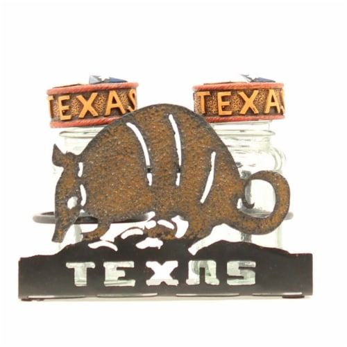 Western Moments 94528 Armadillo Salt & Pepper Caddy Perspective: front