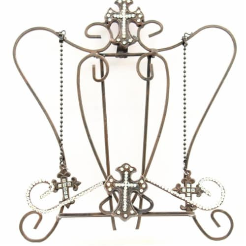 Western Moments 94482 Cross Crystal Cook Book Holder, Black Perspective: front