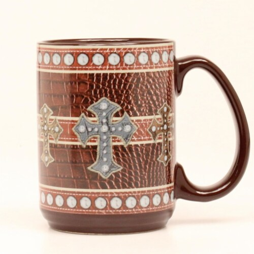 Western Moments 94092 Western Leather Cross Mug Perspective: front