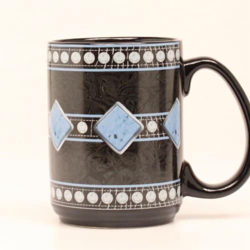 Western Moments 94094 Floral Studded Mug, Black Perspective: front