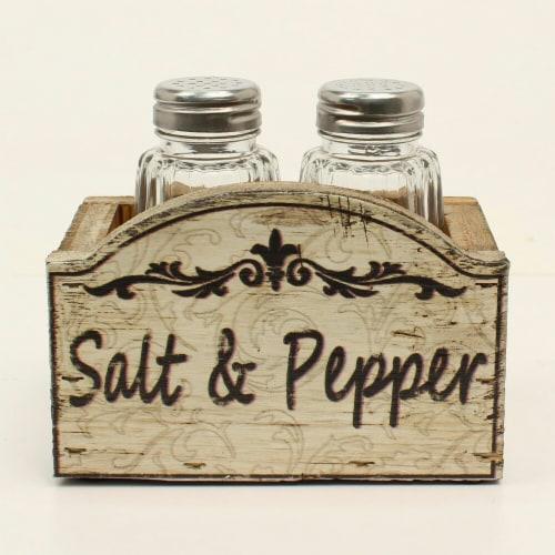 Western Moments 94117 IV Wood Salt & Pepper Shaker Set - 4.25 x 3.50 in. Perspective: front