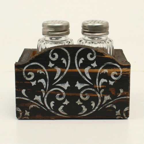Western Moments Stained Wood IV Scroll Salt & Pepper Shaker Holder - 4.25 x 3.50 in. Perspective: front