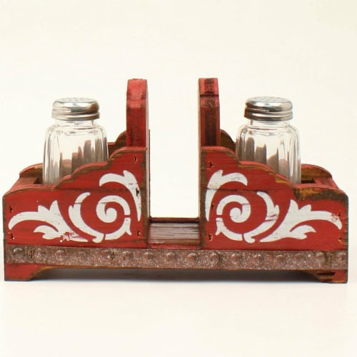 M&F Western 94103 Salt & Pepper Napkin Holder Shaker Set, Red Perspective: front