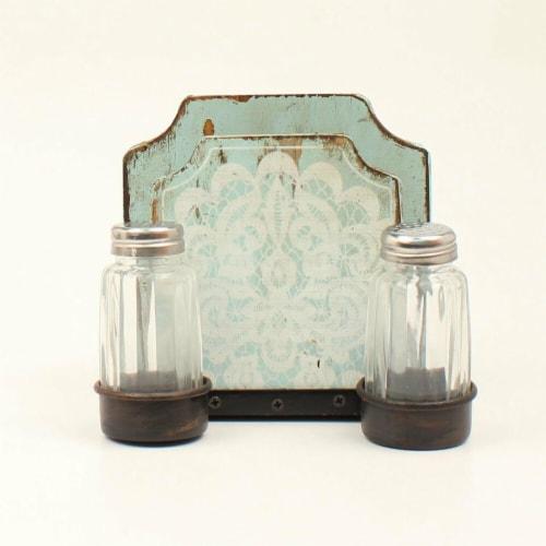 M&F Western Salt & Pepper Napkin Holder Shaker Set, Turquoise Perspective: front