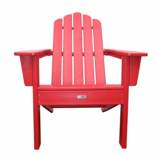 Marina Red Poly Outdoor Patio Adirondack Chair Perspective: front