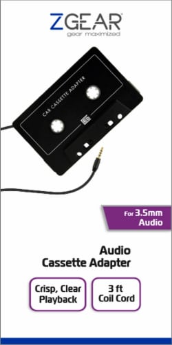 ZGear 3.5mm Audio Cassette Adapter - Black Perspective: front