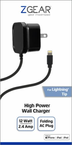 ZGear Lightning Cable High Power Wall Charger - Black Perspective: front