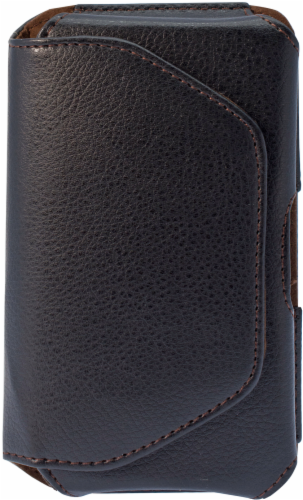 ZGear Premium Horizontal Leather Pouch for Large Smartphones - Black Perspective: front