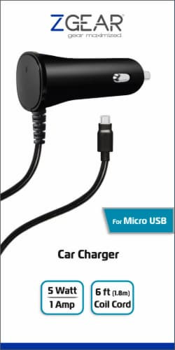 ZGear Micro USB Car Charger - Black Perspective: front