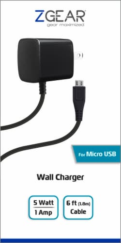 ZGear Micro USB Wall Charger - Black Perspective: front