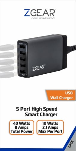 ZGear 5-Port High Speed Smart Charger USB Charging Station - Black Perspective: front