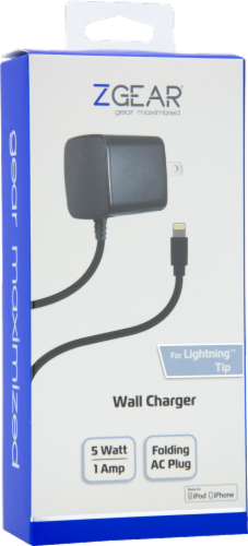 ZGear Lightning Cable Wall Charger - Black Perspective: front