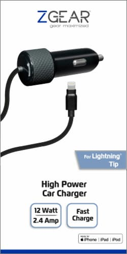ZGear High Power Lightning Cable Car Charger - Black Perspective: front