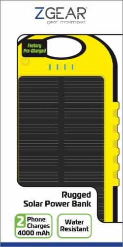 ZGear 4000mAh Solar Power Bank - Yellow/Black Perspective: front