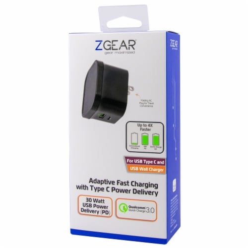 ZGear Adaptive Fast Charging with Type C Power Delivery Qualcomm Wall Charger - Black Perspective: front