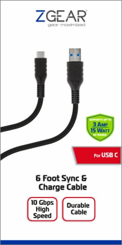 ZGear USB-C Sync and Charge Cable - Black Perspective: front
