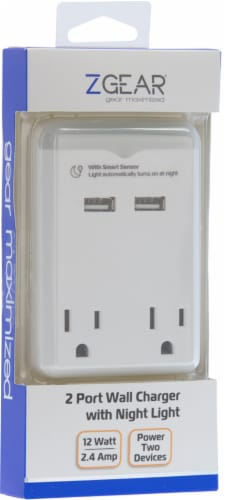 ZGear Wall Charger with Night Light - White Perspective: front