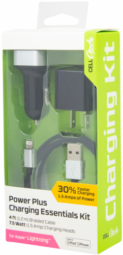 CELLCandy Power Plus Lightning Cable Charging Essentials Kit - Black/Gray Perspective: front