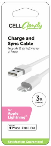 CELLCandy Micro Lightning Charging Cable - White Perspective: front