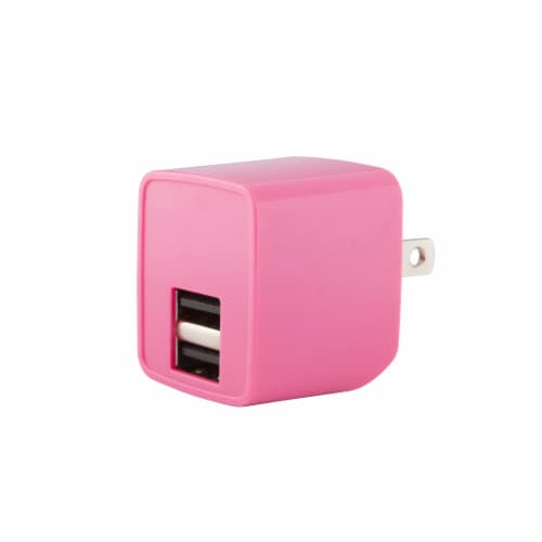 CELLCandy 2.4 Amp Double Wall Charger - Pink Perspective: front
