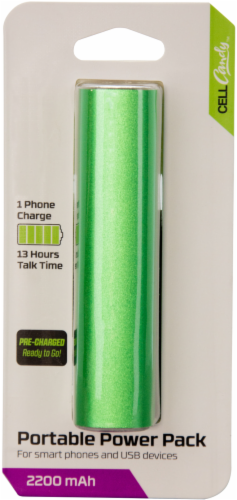 CELLCandy 2200 mAh Portable Power Pack - Sour Apple Green Perspective: front