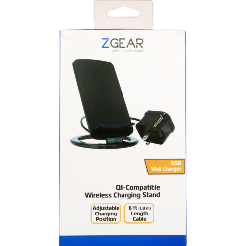 ZGear QI-Compatible Wireless Charging Stand - Black Perspective: front
