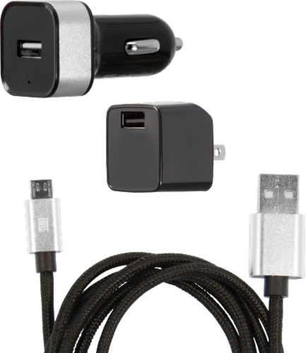 ZGear 7.5-Watt 1.5-Amp Power Plus Charging Essentials Kit for Micro USB - Black Perspective: front