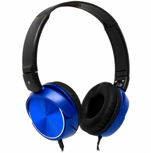 Acoustix Stereo Headphones with Microphone - Blue Perspective: front