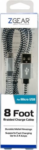 ZGear Braided Micro USB Charging Cable - Black/White Perspective: front