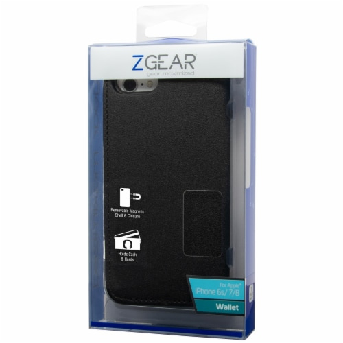 ZGear iPhone 6s/7/8 Plus Wallet Phone Case - Black Perspective: front