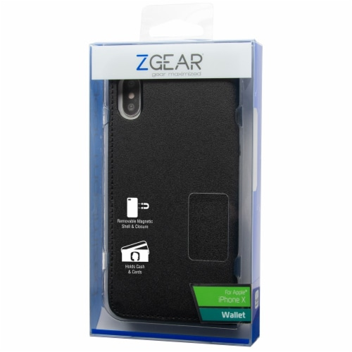 ZGear iPhone X Wallet Phone Case - Black Perspective: front