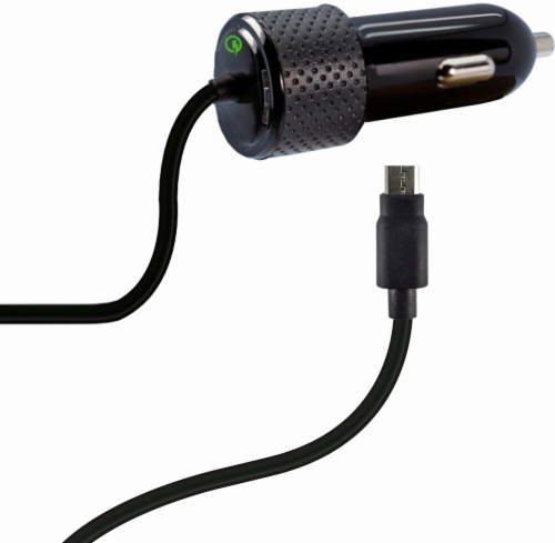ZGear Quick Charge Micro USB Car Charger - Black Perspective: front