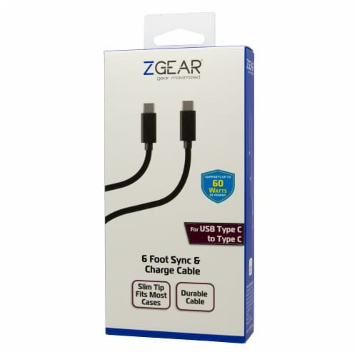 ZGear USB-C to USB-C Cable - Black Perspective: front