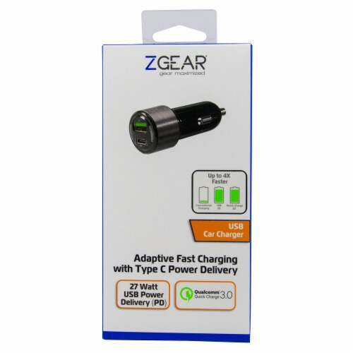 ZGear Qualcomm Quick Charge 3.0 Car Charger with USB-C - Black/Silver Perspective: front