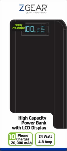 ZGear High Capacity LCD Display Power Bank - Black Perspective: front