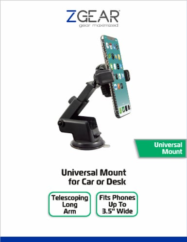 ZGear Universal Phone Mount for Car or Desk - Black Perspective: front