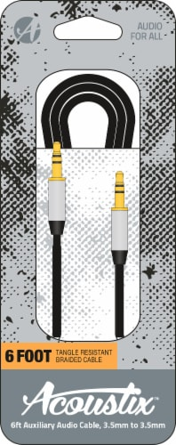 Acoustix Tangle Resistant Braided Auxillary Cable - Black Perspective: front