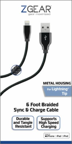ZGear USBC 8 Pin Braided Metal Sync and Charge Cable - Black Perspective: front