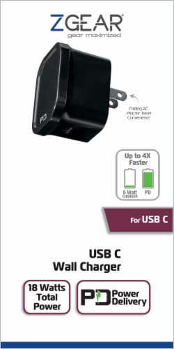ZGear USB C Wall Charger - Black Perspective: front
