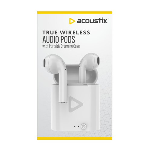 Acoustix True Wireless Earbud Headphones - White Perspective: front