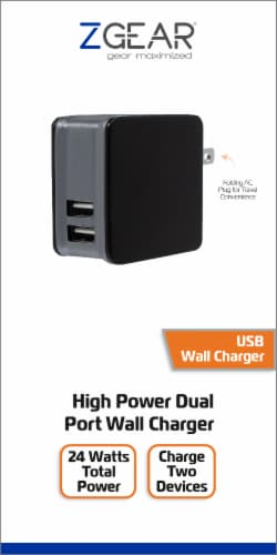 ZGear High Power Dual Port Wall Charger - Black Perspective: front