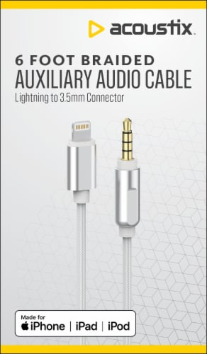 Acoustix 3.5mm to Apple Lightning Braided Auxillary Cable - White Perspective: front
