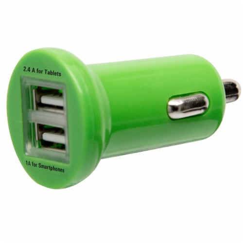 CELLCandy 2.4 Amp Dual USB Car Charger - Sour Apple Green Perspective: front