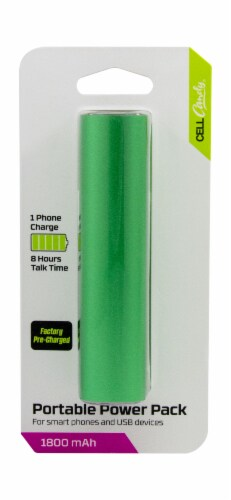 CELLCandy 1800mAh Portable Power Bank - Sour Apple Green Perspective: front