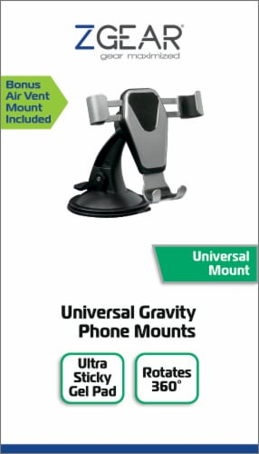 ZGear Universal Gravity Phone Mount - Silver Perspective: front