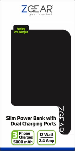 ZGear 5000 mAh Slim Dual Charging Port Power Bank - Black Perspective: front